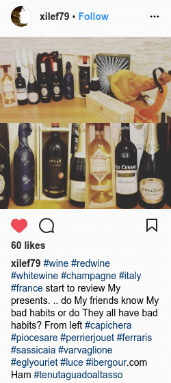 #wine #redwine #whitewine #champagne #italy #france start to review My presents. .. do My friends know My bad habits or do They all have bad habits? From left #capichera #piocesare #perrierjouet #ferraris #sassicaia #varvaglione #eglyouriet #luce #ibergour.com Ham #tenutaguadoaltasso