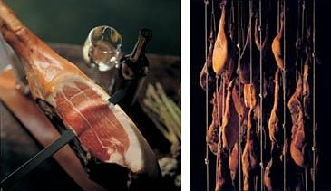 Jamon Serrano in a drying room