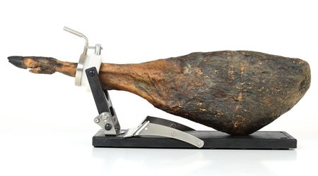 Jamotec JP Luxe ham holder with a ham over the folded bracket
