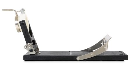 Side view of a Jamotec JP Luxe ham holder with the support bracket open