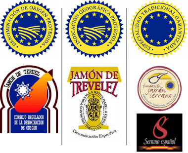 Labels and seals of the different types of serrano ham