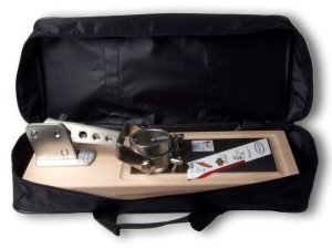 Jamotec Folding Rotary ham holder, folded, in its transport bag