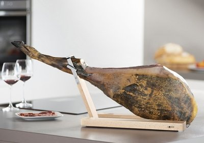 A jamon in a Lojamonero S ham stand